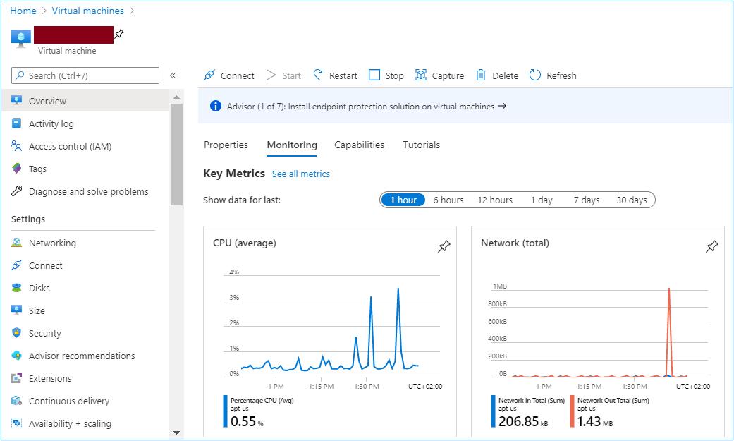 Azure Portal: Virtual machines overview panel