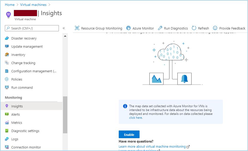 Azure Portal: Enable Insights on Azure virtual machines