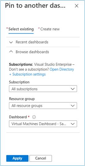 Azure Portal: Select shared dashboard