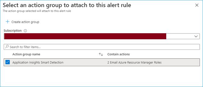 Azure Portal: Select action group for alert rule