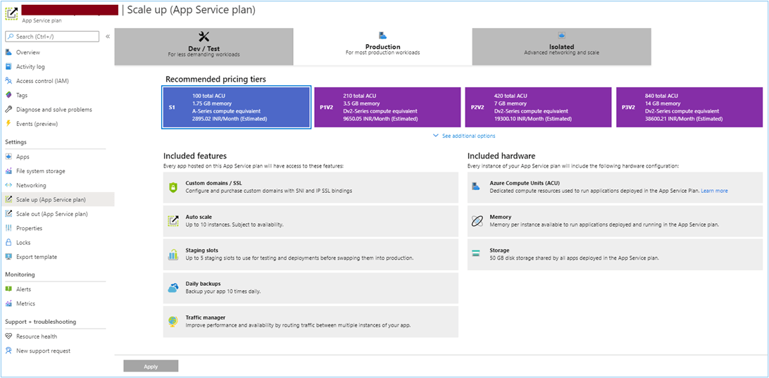 Azure Portal: Scaling up the app service plan