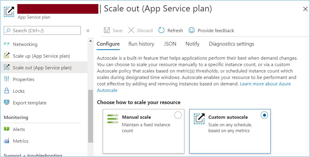 Azure Portal: Scale out app service plan