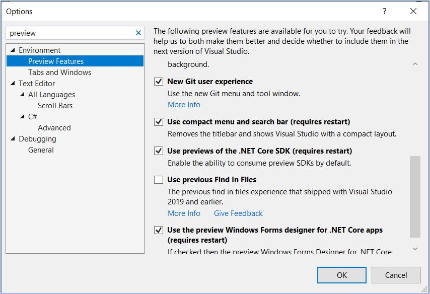 Visual Studio 2019: Enable .NET Core SDK Previews