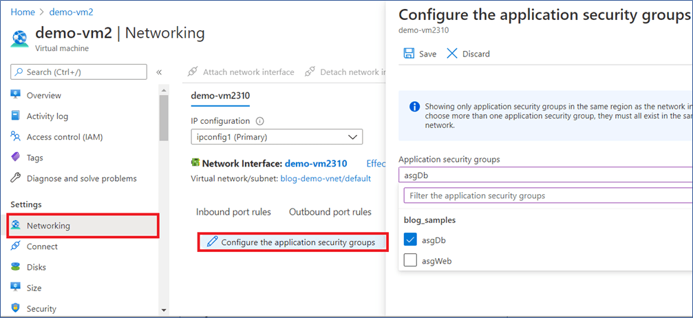Azure Portal: assign application security group to existing VM