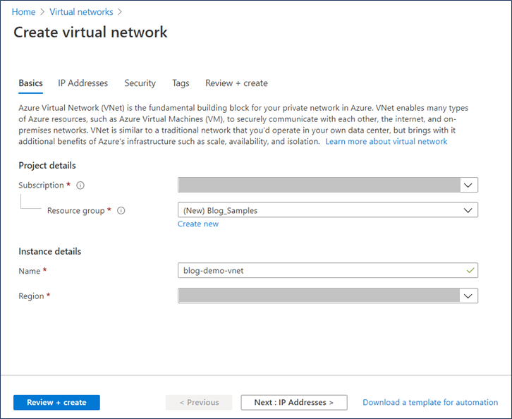 Azure Portal: Create virtual network wizard