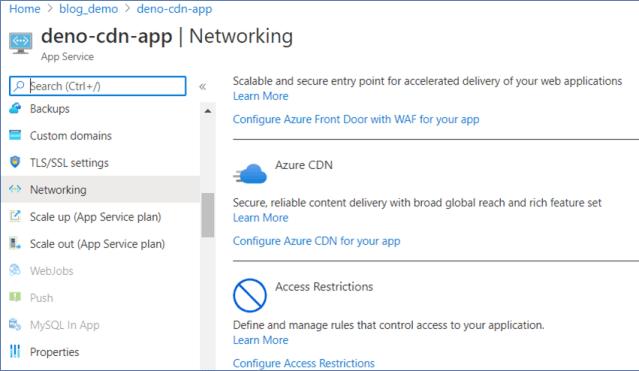 Azure Portal: Configure Azure CDN on Azure Web App