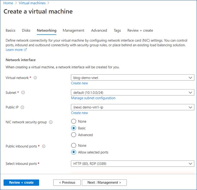 Azure Portal: Networking tab in create virtual machine wizard