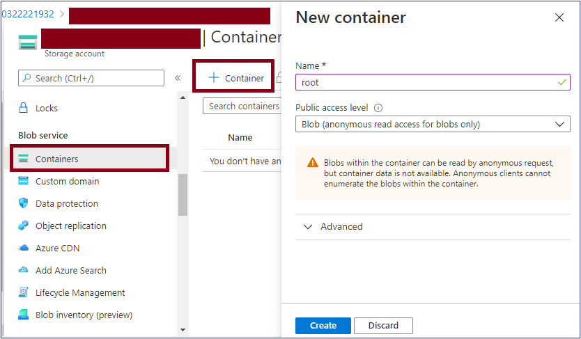Azure Portal: Create new container