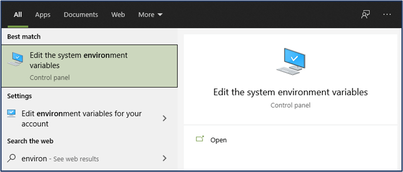 Control Panel Option to edit the system environment variables