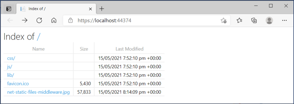ASP .NET Core Web App with Directory Browsing Enabled