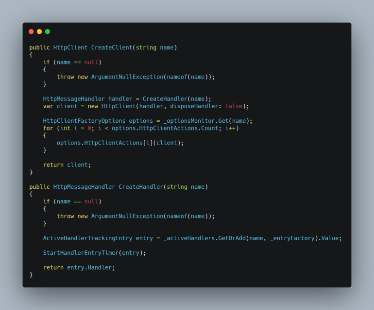 Code snippet from DefaultHttpClientFactory.  View Full Code at GitHub repo