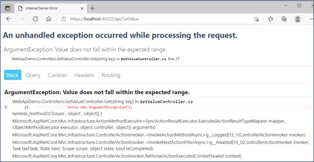 .NET Core Web API - Developer Exception Page Sample