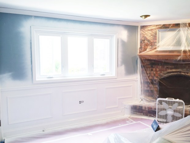 family room with painted wainscoting1
