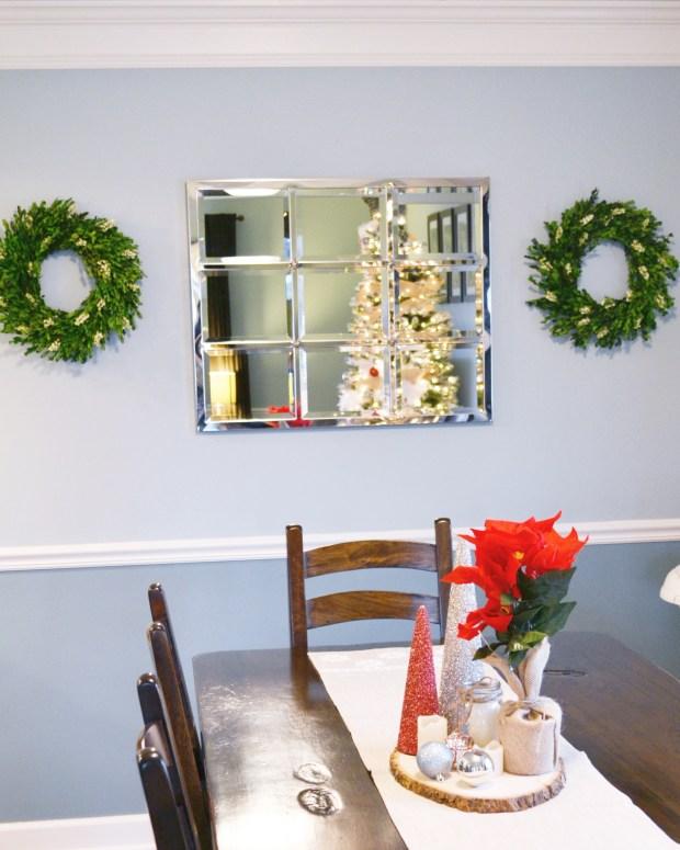 Mirror hanging in kitchen