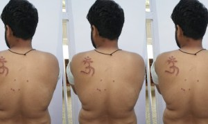 Nabbir with the Om symbol branded on him. Credit: Twitter/Utkarsh Anand