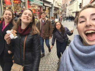 Taking one last stroll through Brussels with our last waffles! Ft. Taylor, Amy, Keaton, Erica, and me!