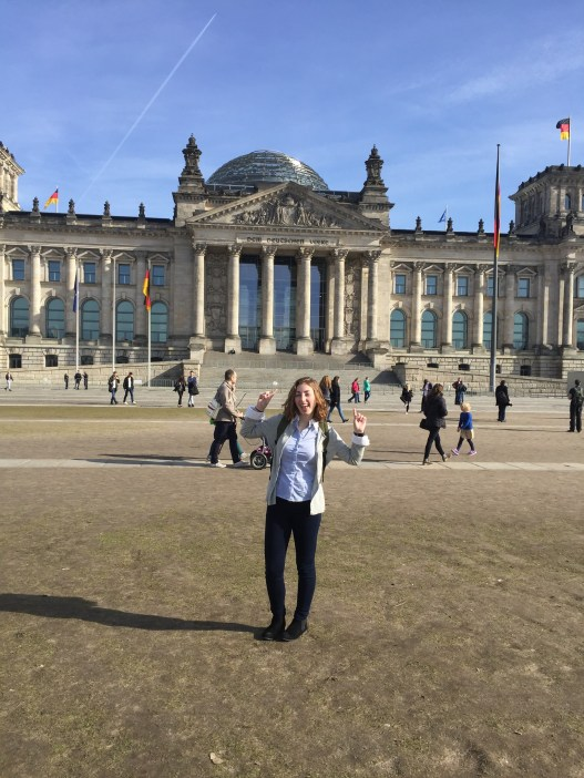 Classic photo of the political science major finding the German parliament building: The Reichstag!