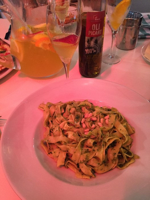 This pesto pasta and cava sangria the first night which really were as good as they look