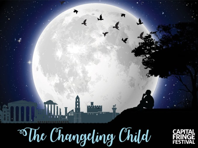 The Changeling Child Splash Image. The silhouette of a man sitting on a hill overlooking Athens. There is a giant moon with birds flying in front of it in the background.