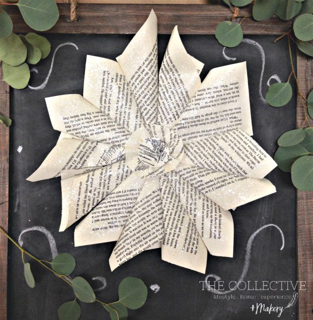 Glittered book page paper wreath The Collective lhe and Makery in Lisle , IL