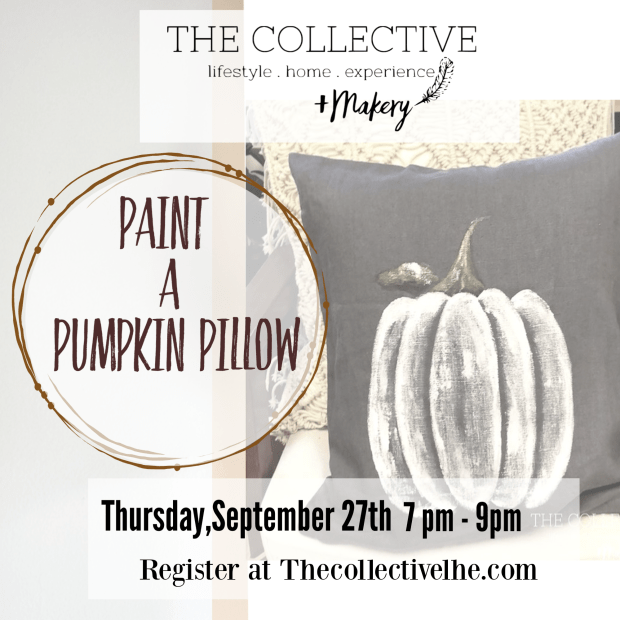 Paint a pumpkin pillow At The Collective lhe Makery