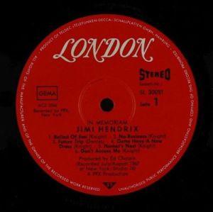 Jimi Hendrix In Memoriam (London)  2LP'S