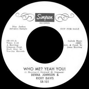 Deena Johnson & Ricky Davis- Who Me? Yeah You!
