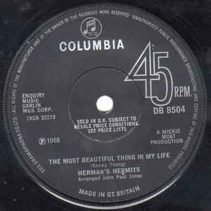 Herman's Hermits- Something 's Happening/ The Most Beautiful Thing In My Life