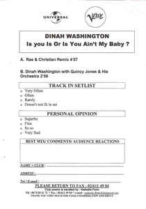 Rae & Christian Featuring Dinah Washington- Is You Is Or Is You Ain't My Baby?