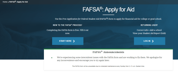 fafsa site message