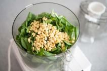 Basil with pine nuts in food processor