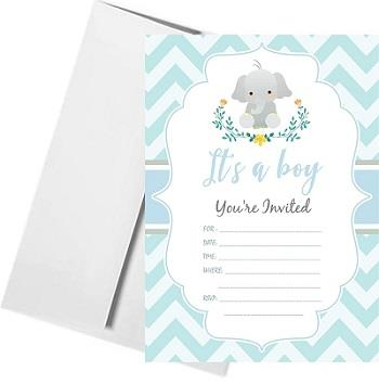 Boy Blue Baby Shower Card Print with Envelopes