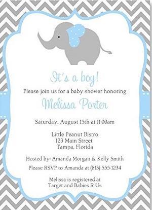 Elephant Baby Shower Invitations Boys