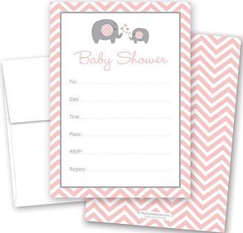 cnt Pink Elephant Baby Invitations
