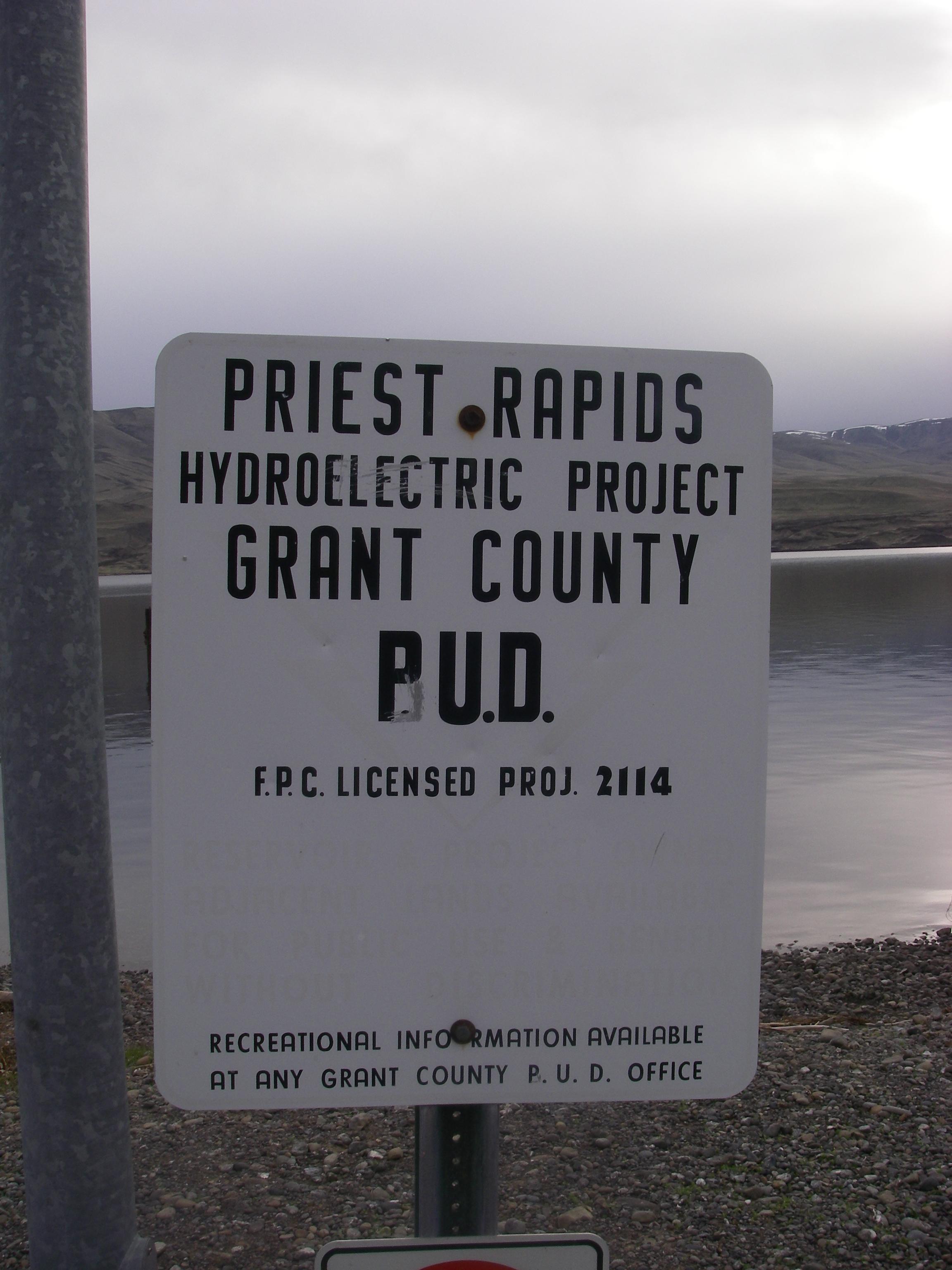 Priest Rapids Dam sign at Desert Aire Marina.