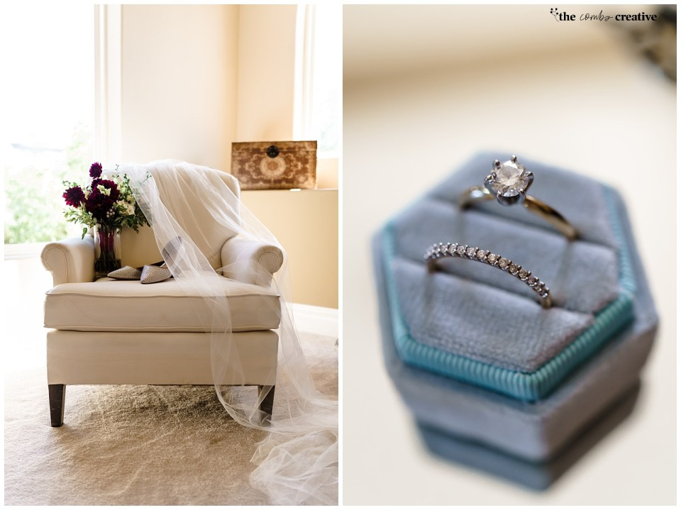 Wedding ring set inside of a blue velvet hexagon ring box. | Wedding bouquet. shoes, and veil layered on a chair.