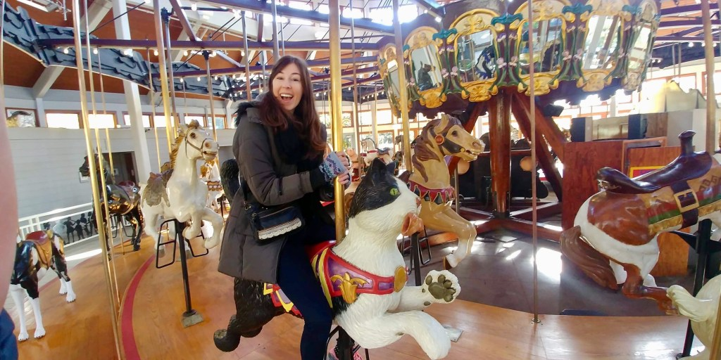 Me riding on a cat on a carousel