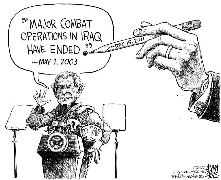 Political Cartoon on 'Last US Troops Leave Iraq' by Adam
