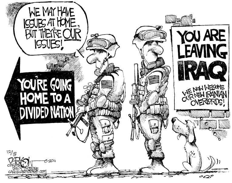 Political Cartoon on 'Last US Troops Leave Iraq' by John