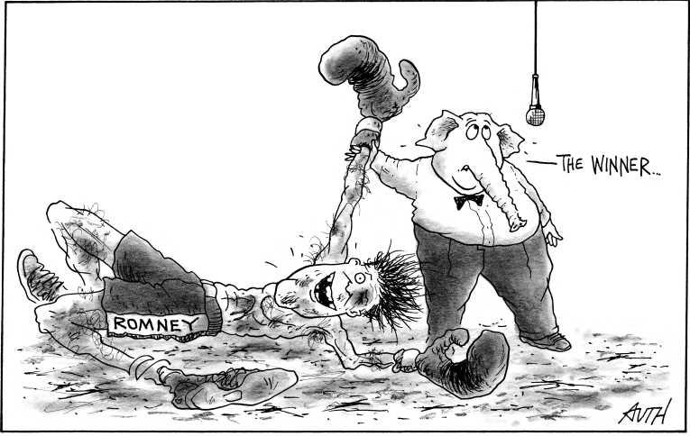 Political Cartoon on 'Romney Wins Michigan' by Tony Auth