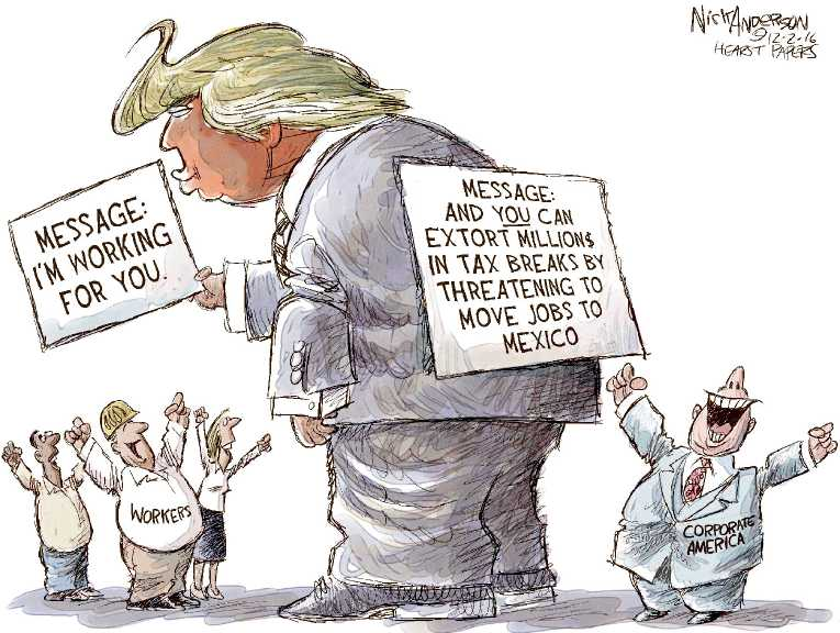 Political Cartoon on Trump Addresses Campaign Promise by
