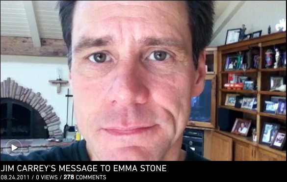 Jim Carrey's very public love letter video to Emma Stone