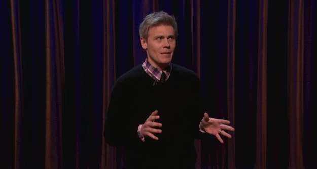 On Conan, Christian Finnegan ponders single dinners, America's decline