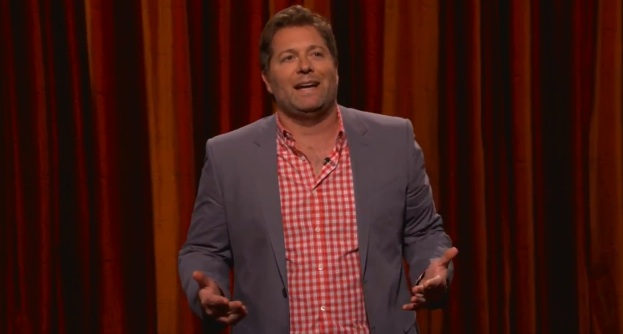 On Conan, Jay Larson accepts a phone call from a random guy