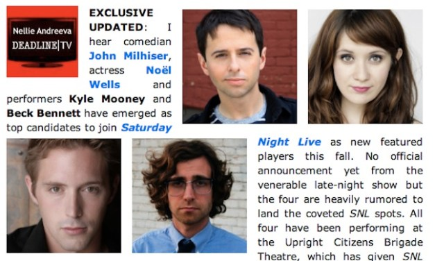 Start the SNL rumor mill! Meet John Milhiser, Noel Wells, Kyle Mooney and Beck Bennett