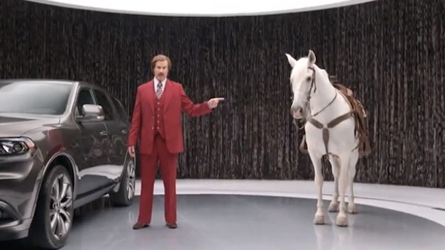 """Will Ferrell as Ron Burgundy for the Dodge Durango, and for """"Anchorman 2"""""""