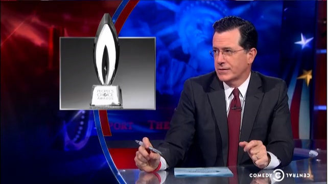 Stephen Colbert implores people to choose him for People's Choice Award