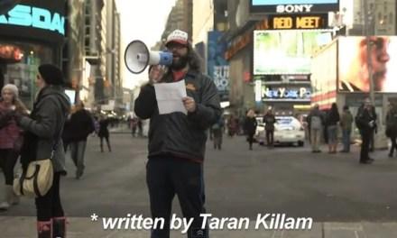 Judah Friedlander pays off Super Bowl bet to Taran Killam with Times Square apology
