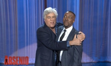Jay Leno surprises Arsenio Hall by announcing second-season renewal of The Arsenio Hall Show