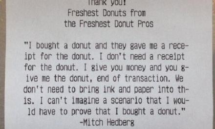 Doughnut shop employee prints out Mitch Hedberg joke for customer receipts